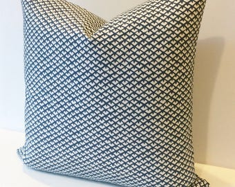 Both sides, dark blue geometric triangles decorative pillow cover
