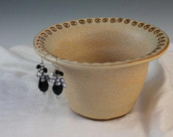 Earring bowl - jewelry organizer - yellow - gift for college student