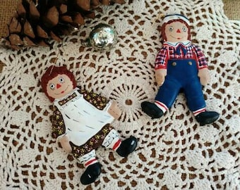 Kitsch Vintage Raggedy Ann + Andy Ceramic Ornament Set - Two Handmade Bright Christmas Ornaments, Country Christmas, Holiday Home Decor