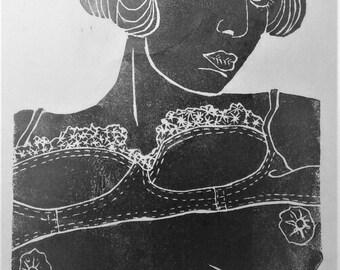 """inspiration erotique vintage linogravure imprimé à l'encre à l'huile  sur papier de riz """" Paulette """""""