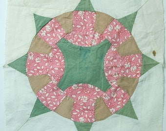 """Antique Quilt Block, 12"""" Square, Pink & Green, Pillow Top Fabric or Wall Decor"""