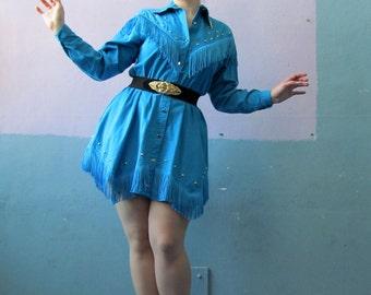 Vtg Western Fringe Dress / VLV / Swing Dance / Rockabilly