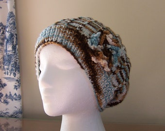 Slouchy Beanie Chemo Hat for Women, Chemotherapy Sleep Cap, Soft Yarn in Brown, Blue, and White, Cancer Patient Gift, Ready to Ship