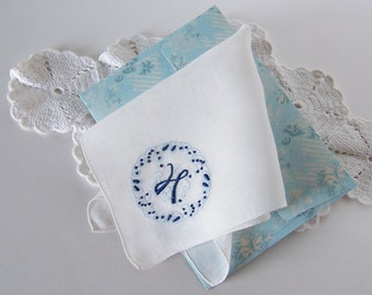 Something Blue Vintage Handkerchief Monogrammed H Bride's Wedding Hanky Something Old Bridal Shower Gift with Complimentary Gift Envelope