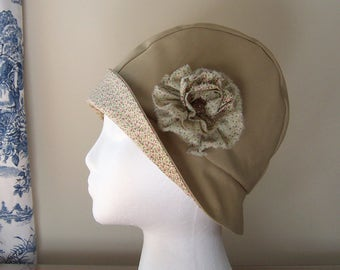 Chemo Hat Cloche Style Cotton in Khaki with Pink Print Brim for Women, Satin Lined with Shabby Rosette Flower and Vintage Button Ships ASAP
