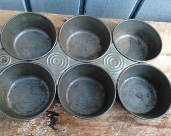 Primitive Muffin Pan - Vintage Muffin Pan - Antique Bakeware