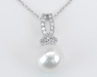 """Diamond and Pearl Pendant Wedding Necklace White Gold Chain 18"""" Perfect Gift"""
