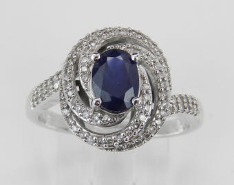 Diamond and Sapphire Halo Engagement Ring 14K White Gold September Size 7