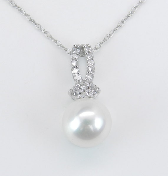 "Diamond and Pearl Pendant Wedding Necklace White Gold Chain 18"" Perfect Gift"