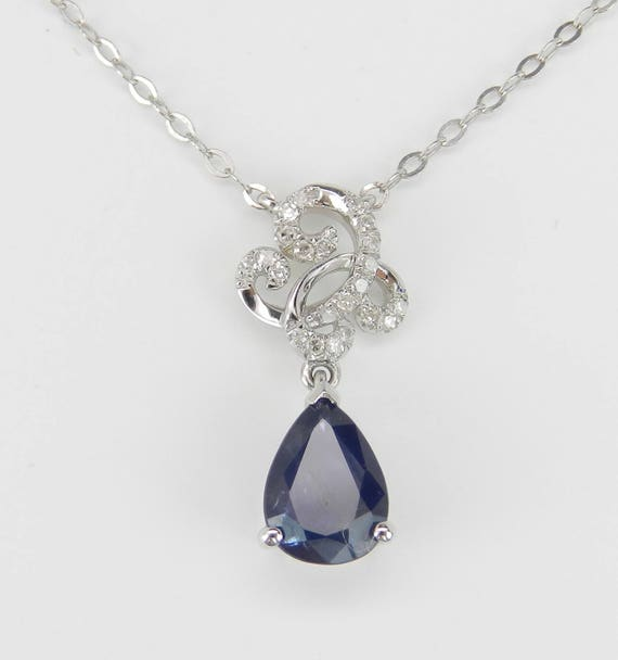 "Diamond and Sapphire Drop Pendant Necklace 14K White Gold 17"" Chain Wedding Gift September Birthstone"