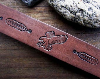 Eagle Bracelet 8 inch - Hand tooled Leather Cuff Bracelet - Tooled Leather Bracelet