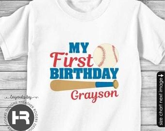 Baseball 1st Birthday Shirt or Bodysuit - Personalized Baseball First Birthday Shirt with Child's Name & Age