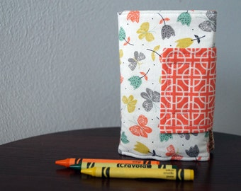 Art Wallet - Girl Crayon Holder - Tulips & Butterflies - Gray - Aqua - Coral - Birthday - Travel Activity - Ready to Ship - Stocking Stuffer
