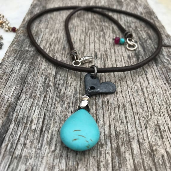 Raw Silver Oxidized Heart Pendant Necklace - Urban - Leather - Turquoise Magnasite - Rustic Sundance Style Jewelry
