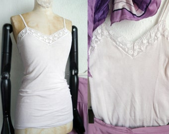 Vintage Top Womens 60s 70s lingerie white spaghetti V top with lace French chic cami