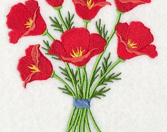 Pretty Poppy Bouquet Embroidered on Kona Cotton Quilt Block // Plain Weave Cotton Dish Towel // Also Available on Other Items