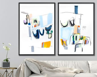 Large art print of abstract painting - abstract art Giclee Print 28x40, Large mid century modern Geometric art
