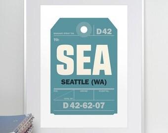 Seattle, Washington, SEA. Luggage Tag Poster. Baggage Tag Print. Travel Poster. Airport Code.