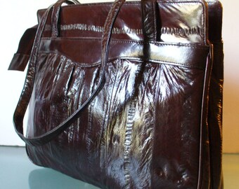 Vintage Chocolate Brown Eel Skin Shoulder Bag Purse