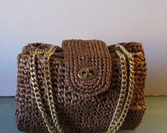 Vintage Dayne Taylor Raffia Accordian Handbag  Made in Japan