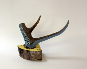 BLUE & YELLOW antler sculpture jewelry jewellery tree holder upcycled art decor christmas taxidermy natural horn wood modern contemporary