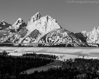 Black And White Grand Tetons Photo, Rustic Landscape, Wyoming Photograph, Mountain Photography, Grand Teton National Park, Wilderness Photo