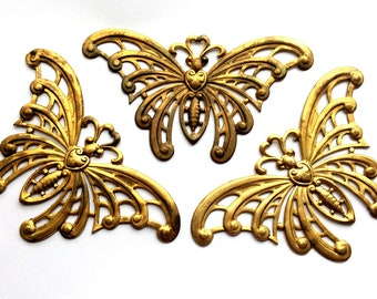 Vintage Brass Butterflies, 3 Piece, Filigree Butterflies, Art Deco Butterflies, Jewelry Making, Patina Brass, B'sue, Nickel Free, 02322