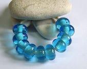 Turquoise, Lampwork Spacer Beads, SRA, UK
