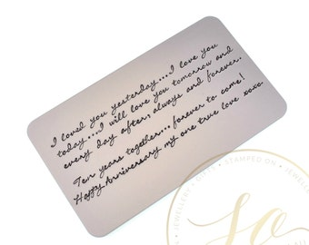 Custom Wallet Card Insert - Personalised Hand Stamped - Aluminium