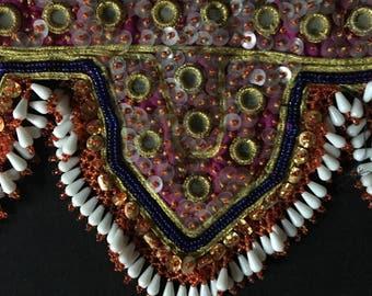 Vintage Afghanistan KUCHI Tribal Embroidery Beadwork Panel TRIM Costume Supply Belly Dance Uber Kuchi®