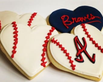 Valentines Day Cookies Valentine's Day Cookies Valentine Day Cookie Valentine's Gifts Valentine Gifts Valentines Gifts Atlanta Braves Cookie