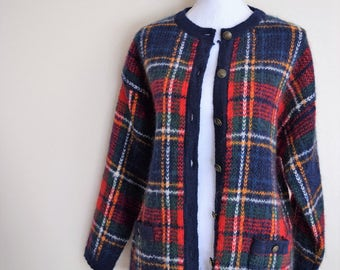 salvation armani vintage mohair sweater - vintage wool sweater - red and blue plaid sweater - button up plaid sweater - Womens vntg size L