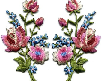 Mauve pink roses flowers embroidered appliques iron-on patches left or right price for 1 pc