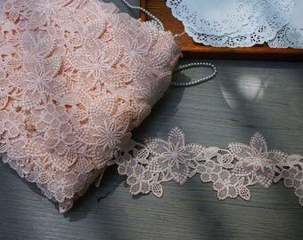 3  inch wide peachy pink lace trim price for 1 yard