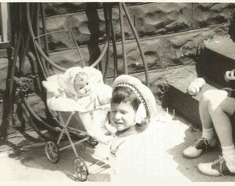 """Vintage Photo """"The Babysitter Wore Saddle Shoes"""" Baby Doll Stroller Cute Little Girl Found Vernacular Photo"""
