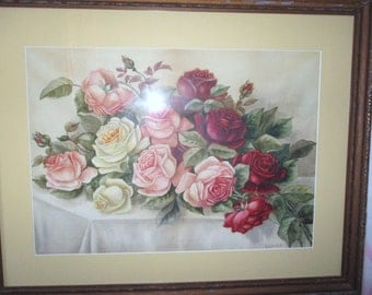 Victorian Painting Pink Roses Red White Water Color 23x29 Cottage Chic