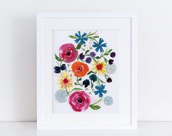 Watercolor Print, Floral Art Print, Fine Art, Nature Sketch, Modern Art, Ink, Minimalist, Floral Bouquet, Abstract Art, Bohemian Art Print