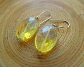 Pineapple quartz dangle earrings yellow quartz simple earrings
