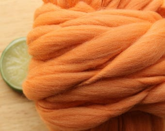 Classic Peach - Handspun Merino Wool Yarn Orange Thick and Thin Skein