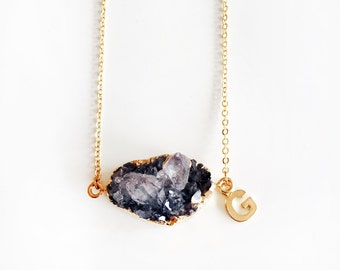 Druzy Necklace, Black, Quartz Birthstone Jewellery, Layered, Gold, Initial, Personalised, Crystal, Drusy Gemstone, Raw Mineral, Modern