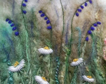 Bluebells and Daisies - printed greetings card from original textile art