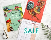 SALE! 2017 Birds in Hats Wall Calendar: 12 Fine Art Prints of birds in hats from around the world! Wall Planner/Calendar