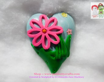 Hot Pink Flower in garden. Hearts. Keyrings. Pendant or Key Chains. Handmade from Polymer Clay
