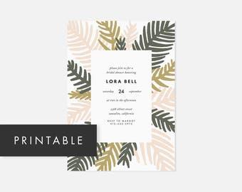 Printable Palm Leaf Invitations / Simple DIY Invite / Modern Boho Invite / Pink / Bridal Shower, Baby Shower, Engagement