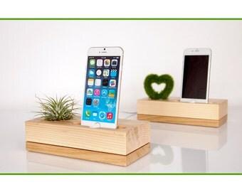 iPhone dock plus plant holder - modern minimalistic design - air plant pot - iPhone 7 / 7 plus dock - unique present
