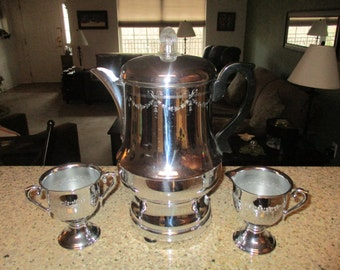 Vintage 1940's Farberware Chrome Metal Automatic 12 Cup Percolator with Matching Creamer and Sugar Bowl
