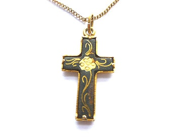 GOLD DAMASCENE Petite Cross Pendant, Goldplated Black Cross with Chain, Vintage Goldplated Floral Design Cross Necklace, Black & Gold Cross
