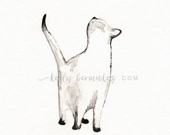 Wall Art Printable, Cat painting, Cat Watercolor, I look to You, siamese cat, Cat art,  Minimal black and white, Instant Download