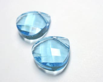 Swarovski Elements Aquamarine Faceted Flat Briolette Pendant, #6012 Aquamarine 15mm Faceted Flat Briolette Pendant - 3 Pcs