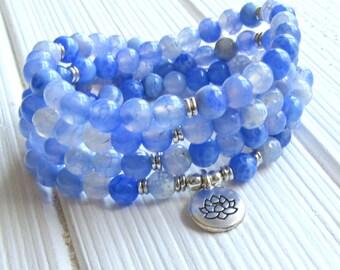 Prayer beads, 108 beads, Blue cracked agate, Mala Bracelet or Necklace, Buddhist Rosary,Prayer beads, Gemstone, Mala, Lotus, buddha, ohm, om